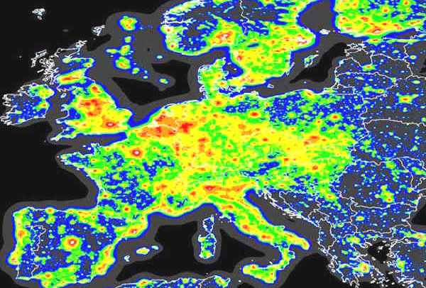 Infographic of light pollution over Europe.